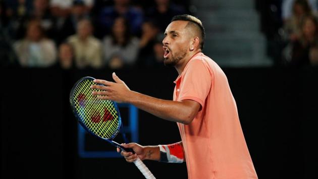 FILE PHOTO: Tennis - Australian Open - Fourth Round - Melbourne Park, Melbourne, Australia - January 27, 2020. Australia's Nick Kyrgios reacts during his match against Spain's Rafael Nadal.(REUTERS)