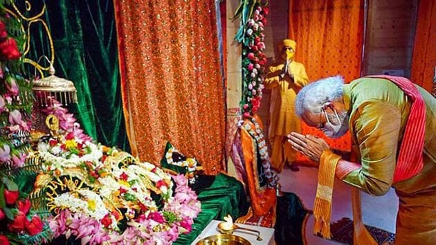 Prime Minister Narendra Modi offers prayers while attending the foundation stone laying ceremony for the construction of the Ram Mandir, in Ayodhya.(PTI Photo)