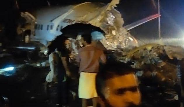 The plane shot the runway and fell into a valley(Sourced Photo)