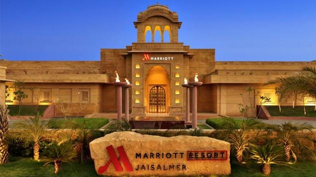 The Jaisalmer Marriott Resort & Spa offers 135 exquisitely designed rooms and nine suites featuring majestic views of the Jaisalmer Fort and a beautiful central oasis.(Jaisalmer Marriott Resort & Spa)