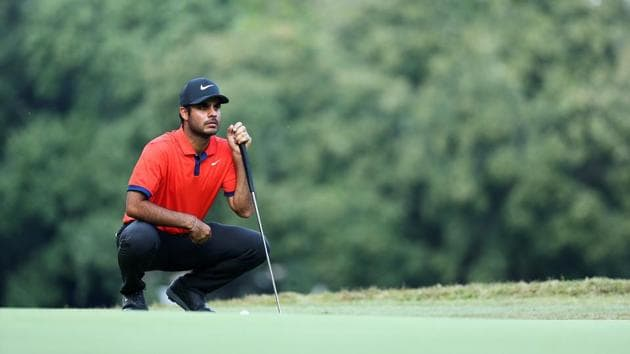 Shubhankar Sharma lines up a putt on the 5th green during Day Three of the Italian Open at Olgiata Golf Club.(Getty Images)