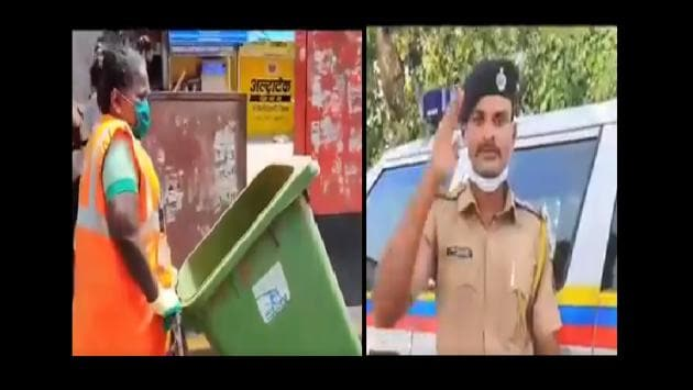 """""""Maharashtra Police salutes all the medical and sanitation workers."""" reads the caption of the tweet.(Twitter/@PuneCityPolice)"""