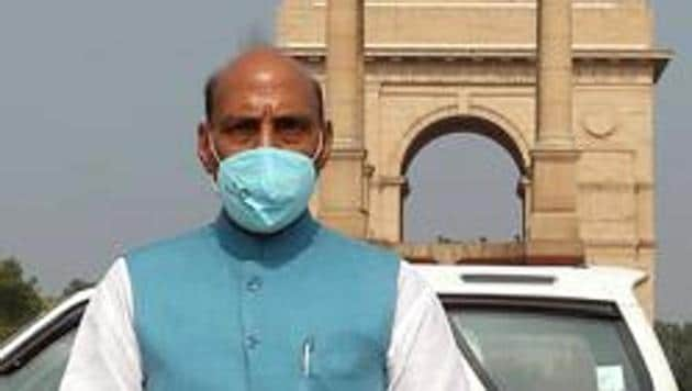 """Defence Minister Rajnath Singh said the defence ministry is now ready for a """"big push"""" to encourage indigenous defence manufacturing in line with Prime Minister Modi's clarion call for an 'Atmanirbhar Bharat'.(ANI PHOTO.)"""