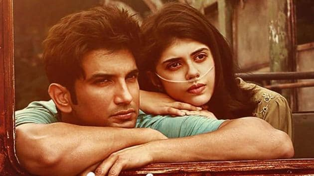 Sushant Singh Rajput and Sanjana Sanghi on a poster for Dil Bechara.