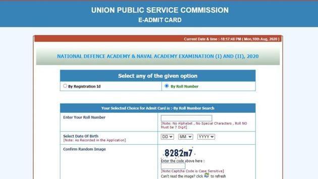 UPSC NDA 2020 admit card.(Screengrab)