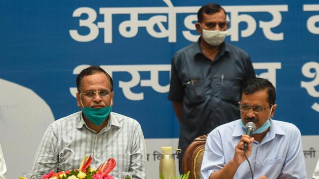 """Delhi health minister Satyendar Jain attributed the spike in coronavirus cases to """"people from other states who arrive in Delhi and get tested"""".(Amal KS/HT Photo)"""