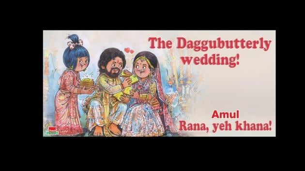 Check out Amul's creative tweet for Rana Daggubati and Miheeka Bajaj's wedding.(Twitter/@Amul_Coop)