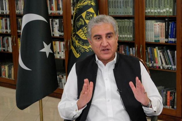 Pakistan's Foreign Minister Shah Mehmood Qureshi gestures as he speaks during an interview with Reuters at the Ministry of Foreign Affairs (MOFA) office in Islamabad, Pakistan.(REUTERS)