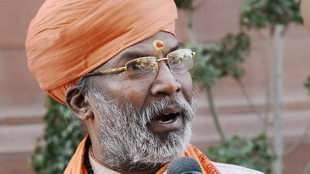 BJP leader Sakshi Maharaj has Y category security and police is also deployed at his residence but the security would be reviewed in the light of of the threat call.(PTI)
