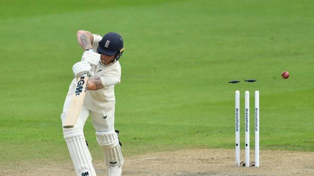 Cricket - First Test - England v Pakistan - Emirates Old Trafford, Manchester, Britain - August 6, 2020 England's Ben Stokes is bowled by Pakistan's Mohammad Abbas, as play resumes behind closed doors following the outbreak of the coronavirus disease (COVID-19) Dan Mullan/Pool via REUTERS(REUTERS)