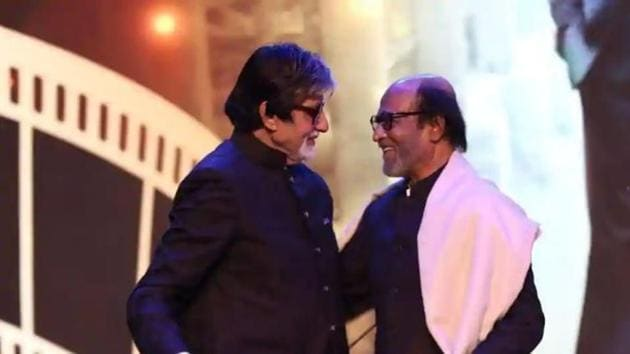 Amitabh Bachchan and Rajinikanth at 2019's IFFI ceremony.