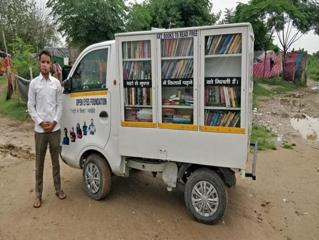Sandeep Kumar, founder of the NGO -- Open Eye Foundation -- had started collecting books from various places to help the students who can not afford them.(ANI)