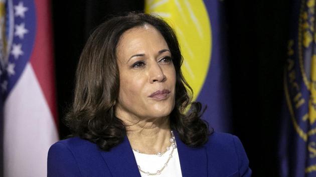 Senator Kamala Harris, presumptive Democratic vice presidential nominee, during a campaign event in Wilmington, Delaware, US.(Bloomberg)