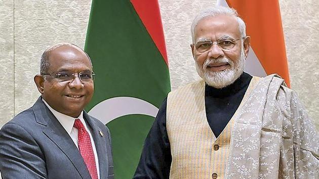 Prime Minister Narendra Modi shakes hands with Minister of Foreign Affairs of the Republic of Maldives Abdulla Shahid.(PTI file photo)