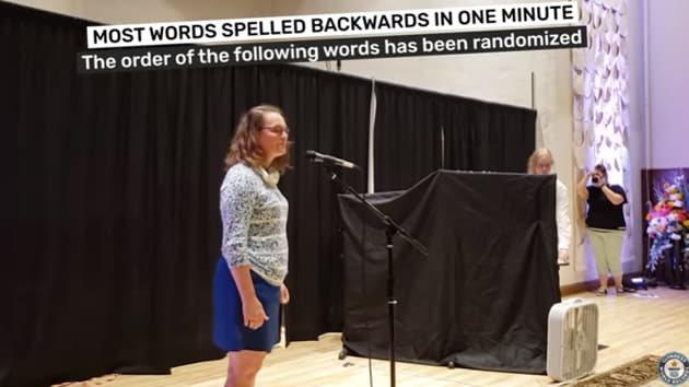 The image shows record holder Pam Onnen from the US.(YouTube/Guinness World Records)