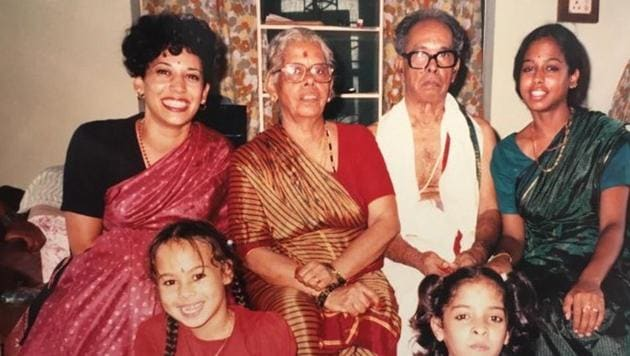 KamalaHarris, back row at left,in an undated family photo. Next to her, from left, her grandmother Rajam, grandfather P.V. Gopalan and sister, Maya Harris.(Twitter)