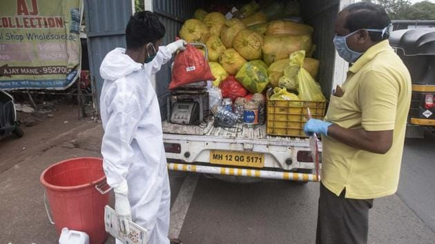 An officer from the health department said around three to four thousand kilo biomedical waste is collected daily mainly of Covid patients which is later disposed off scientifically.(Pratham Gokhale/Representative HT Photo)