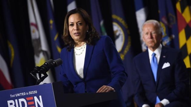 Democratic vice presidential running mate, US Senator Kamala Harris, speaks as Democratic presidential nominee and former US Vice President Joe Biden during the first press conference with Joe Biden in Wilmington, Delaware, on August 12, 2020. (Photo by Olivier DOULIERY / AFP)(AFP)