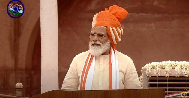 Prime Minister Narendra Modi addressed the nation the occasion of Independence Day on Saturday. He said his government has brought laws to free the agriculture sector.(YouTube/Doordarshan National)