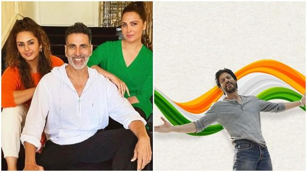 Shah Rukh Khan shared a photo of himself with the Tricolour; Akshay Kumar posed with Lara Dutta and Huma Qureshi.