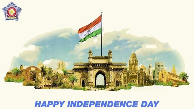 Independence Day 2020: Mumbai Police took to Twitter to share this image.(Twitter/@MumbaiPolice)