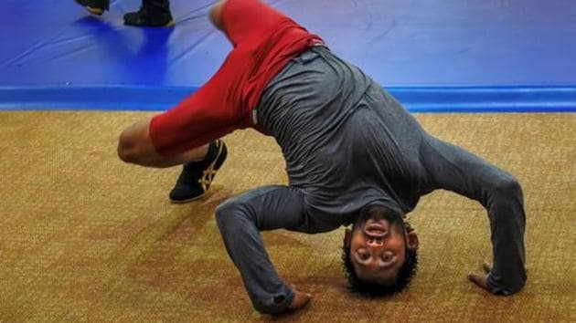 Indian wrestler Bajrang Punia during a training session ahead of the 18th Asian Games 2018, in Jakarta, Indonesia.(PTI)