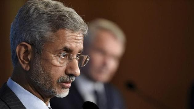 India's Minister of External Affairs Subrahmanyam Jaishankar speaks during a news conference with his Finnish counterpart in Helsinki, Finland.(REUTERS)