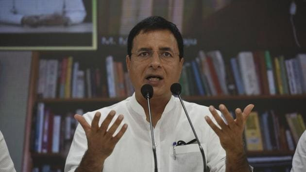 Congress leader Randeep Singh Surjewala. The opposition party has criticised Prime Minister Narendra Modi for not naming China in his Independence Day speech on Saturday.(Vipin Kumar/HT Photo)