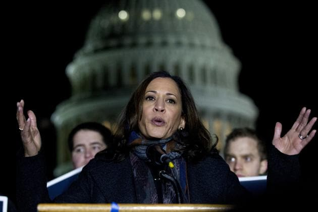 Kamala Harris is seen in this file photo during a rally Washington. Harris on Saturday tweeted her wishes on India's 74th Independence Day.(AP Photo)