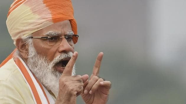 Prime Minister Narendra Modi addresses the nation during the 74th Independence Day celebrations, at Red Fort in New Delhi, on Saturday.(PTI Photo)