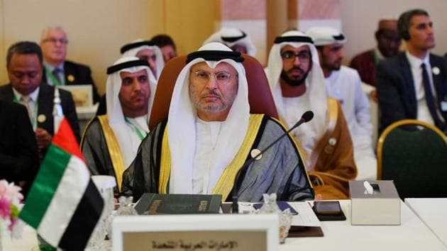 UAE Minister of State for Foreign Affairs Anwar Gargash is seen during preparatory meeting for the GCC, Arab and Islamic summits in Jeddah, Saudi Arabia.(REUTERS)
