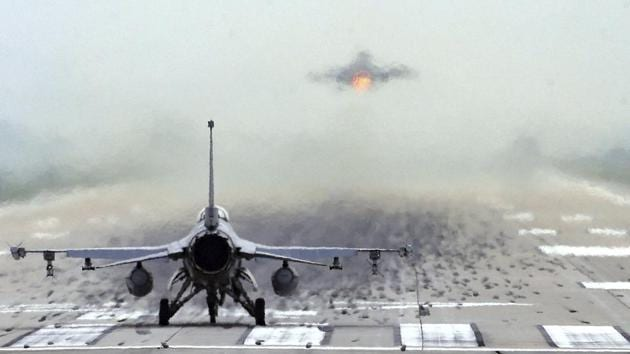 A US Air Force F-16 fighter jet prepares to take off at the Osan US Air Base in Pyeongtaek, South Korea.(AP)