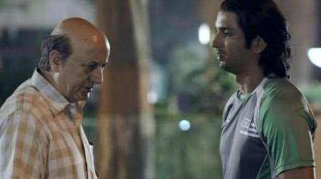 Sushant Singh Rajput and Anupam Kher in a still from MS Dhoni: The Untold Story.