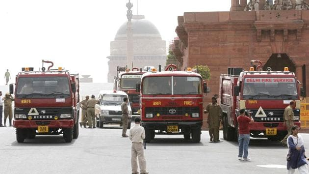 Fire tenders are seen outside the North Block in New Delhi in this file photo. A fire broke out on the sixth floor of the Parliament Annexe Building in New Delhi on Monday morning has been brought under control, according to news agency ANI.(Arvind-Yadav/HT Photo)