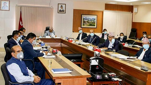 India and Nepal held the 8th meeting of the Oversight Mechanism (OSM) through digital video Conferencing in Kathmandu on Monday. The meeting carried out a comprehensive review of bilateral economic and development cooperation projects. (ANI Photo)