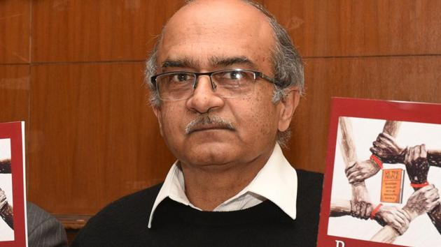 Prashant Bhushan refused to apologise for his statement but offered an explanation to the court.(Arvind Yadav/HT Photo)