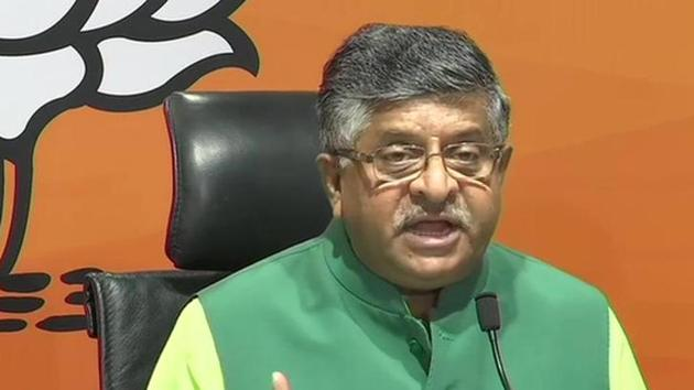 Union minister Ravi Shankar Prasad addressing a press conference after Supreme Court verdict on PM CARES Fund, in New Delhi on Tuesday.(ANI Photo)