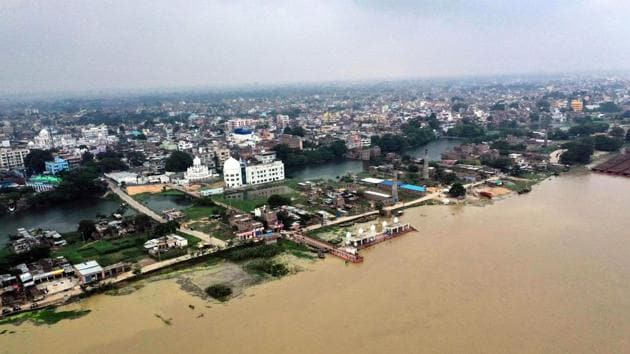 An aerial view of Kangan ghat submerged in flood water on the bank of river Ganga in Patna on Tuesday.(ANI)