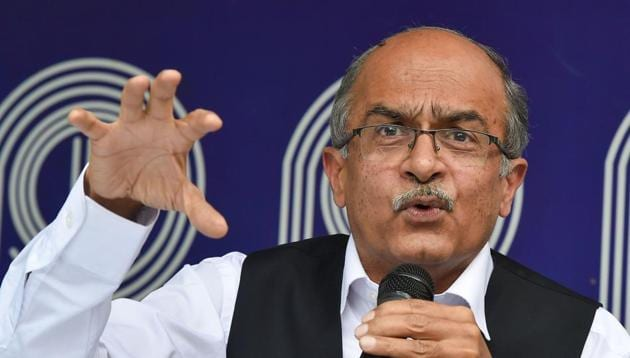 The Supreme Court on Friday, Aug 14, 2020 held Bhushan guilty of contempt for his two derogatory tweets against the judiciary.(PTI File Photo)