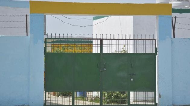 A view of a closed school amid the lockdown to check the spread of coronavirus, in Dasna, Ghaziabad.(Sakib Ali/HT File Photo)