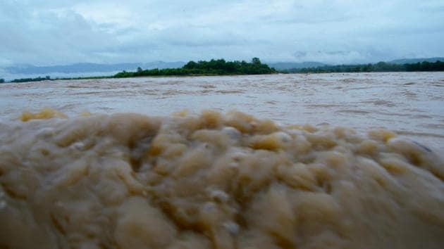 The water level of river Ganga has been rising and it has inundated low lying areas in Bihar's Saran district.(ANI Photo)