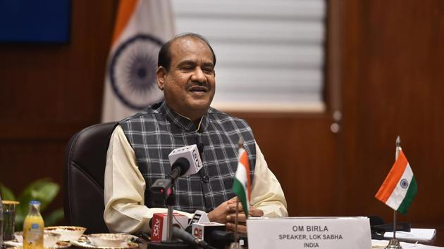 Lok Sabha Speaker Om Birla addresses the 5th World Conference of Speakers of Parliament via video conferencing at Parliament House in New Delhi on Thursday.(PTI PHOTO.)