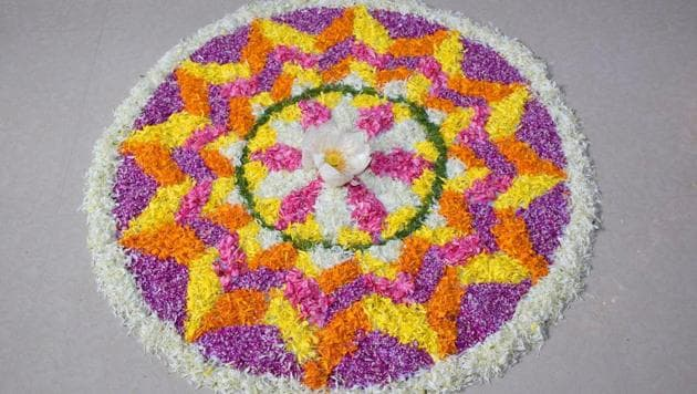 King Mahabali is traditionally welcomed with a carpet of flowers, popularly known as pookalam, in front of houses on Onam.(Pixabay)
