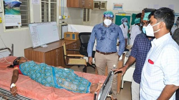 Chittoor district collector Narayana Bharat Gupta, superintendent of police Senthil Kumar rushed to the factory to supervise rescue operations. (HT Photo)