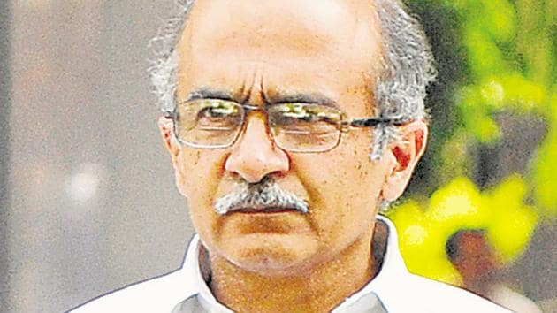 Prashant Bhushan expressed dismay at the judgment of August 14, which, he said, arrived at a conclusion against him without providing any evidence of his motives.(Vipin Kumar/HT Photo)