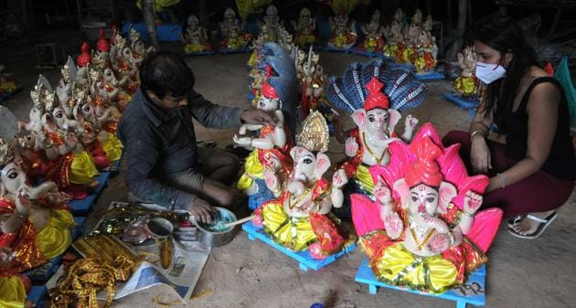 An artist works on an idol of Hindu deity Ganesh ahead of Ganesh Chaturthi festival at Shiv Temple Kalibari in Chandigarh, India, on Thursday, August 20, 2020. (Representational image )(Keshav Singh/Hindustan Times)