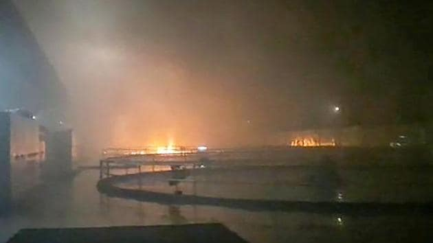 Smoke billows from a fire at Srisailam Left Bank Power Station (SLBP), in Telangana.(PTI Photo)