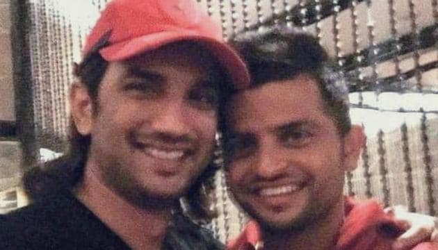 Suresh Raina poses with Sushant Singh Rajput.