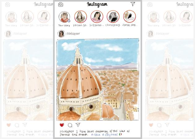 Those living abroad are putting up Insta posts of their vacations to destinations including Florence, Italy(Illustration: Aparna Ram)