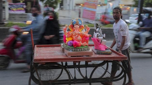 Many Ganpati mandals in the city voluntarily decided to contain Ganesh festivities this year, keeping in mind the current Covid-19 situation in the city and state.(AP)